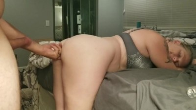 Sexy MILF Wife first DP with Huge Dildo Anal Creampie