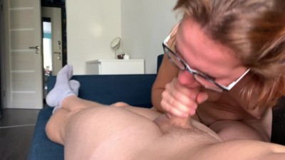 Sexy Teen in Glasses Sucking Cock Deep and take Cum in Mouth.