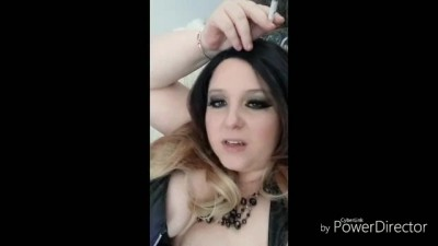 Smoking in Leather and Fishnets JOI