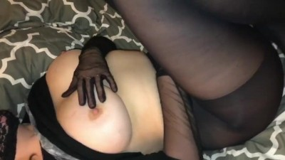 Wife gives Footjob and Edges Ballgagged Husband Tied to Bed