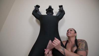 Femdom Mistress Milks Bondage Puppy in BDSM Handjob