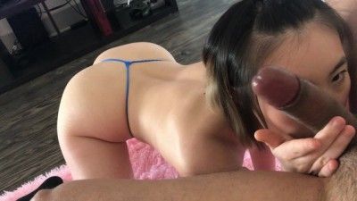 Little Babe gives POV Blowjob