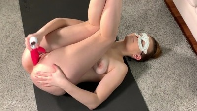 Ballerina Masturbates with a Vibrator while Stretching