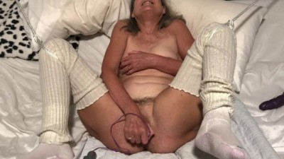 Granny MILF Mature GILF Big Orgasm with Pink Rabbit