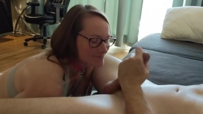 Hot Wife in Glasses Sucks Big Cock and Licks Balls