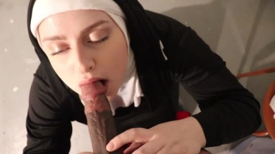 Slutty Nun Milks Young Black Cock Before Halloween Party