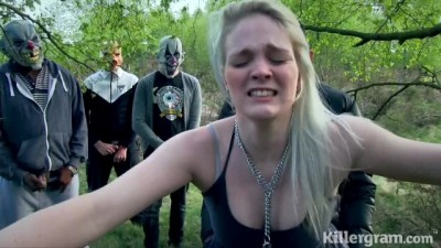 Masked men gangbang fuck blonde bitch in the street