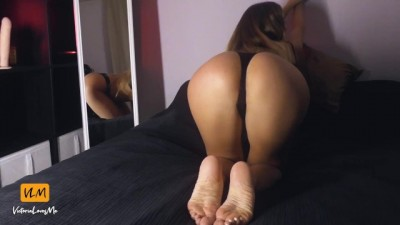 Sexy brunette girl riding big dildo