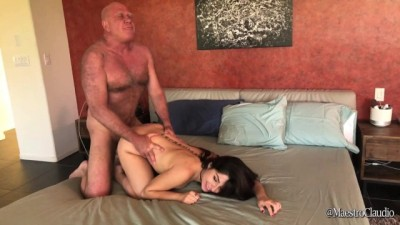 Older strong guy pees on Keira Croft and fucks her tight wet pussy