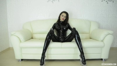 Sexy Tripper Babe Doing Dance in Black Latex Body Suit