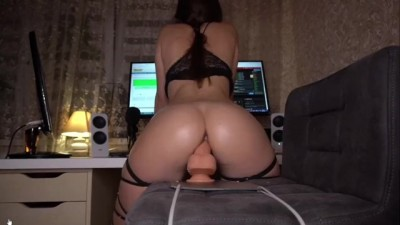 Amateur Babe Riding Dildo Cums at End!