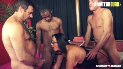 Italian MILF Takes ON Four Big Cocks