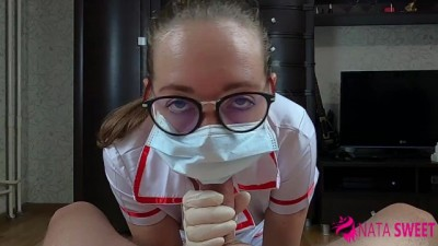 Very blonde sexy nurse suck cock and fucks with facial