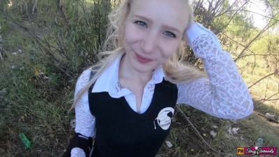 Teen beautiful schoolgirl fucked in the mouth and pussy on the way from school