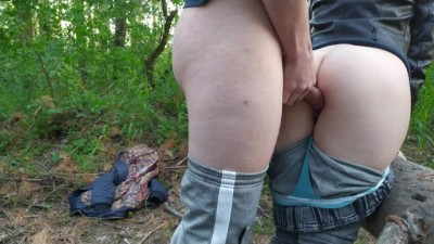 Fucked a Russian Bitch in the Woods and Cum on the Ass