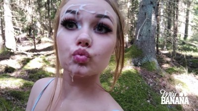 Outdoor blowjob in the forest - Miss Banana
