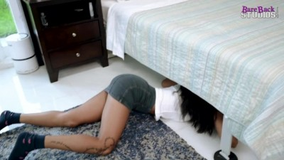 Hot Step Daughter is Fucked while Stuck under the Bed