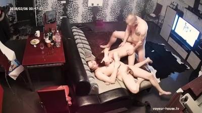 Redhead Teen in Hard Group Sex Orgy Threesome FFM