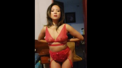 Asian Hottie Strips Sexy Red Lingerie