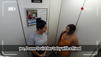 Two Latina Girls Stuck in the Elevator having Public Sex