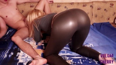 Blonde Girl in Sexy Leggings got Anal Creampie