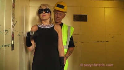 Christie Fucks Dirty Builder in Elevator