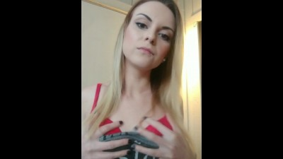 Slut Gags on Dildo Smoking