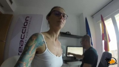 Crazy Sex during Work, Natural Teen Student Fucked on Chair
