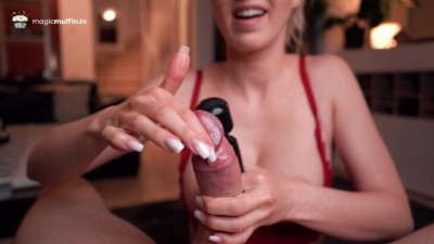 Intense Nails & Vibration Handjob with Big Cumshot