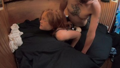 Redhead Woken up to have Panties Stuffed
