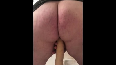 Big Ass Chick Riding Huge Dildo in Bathroom